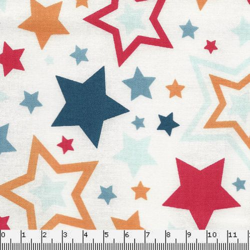 Tissu Riley Blake Lucky Star fond blanc