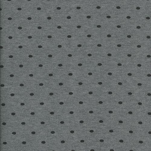 Bord côte tubulaire 35 pois noir fond gris