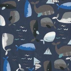 Tissu coton baleines fond bleu