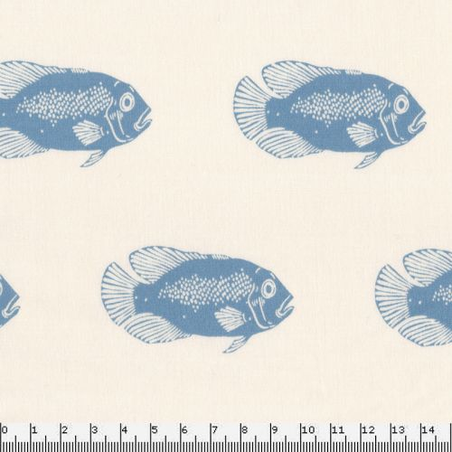 Tissu 100% coton linon Fish