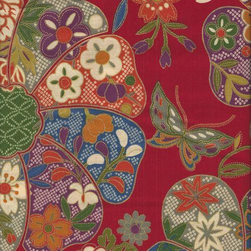 Tissu japonais 100 % coton motif tradi floral fond rouge