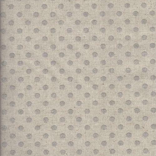 Tissu japonais 75 %cot/25% lin pois arg fond nat