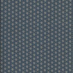Tissu japonais 100 % coton fleurs de lin bleu mar