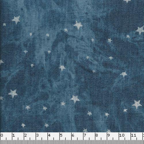 Tissu Chambray 65%cot/35%polcm étoiles