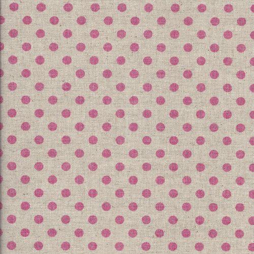 Tissu japonais 75 % cot/25% lin pois rose fd nat