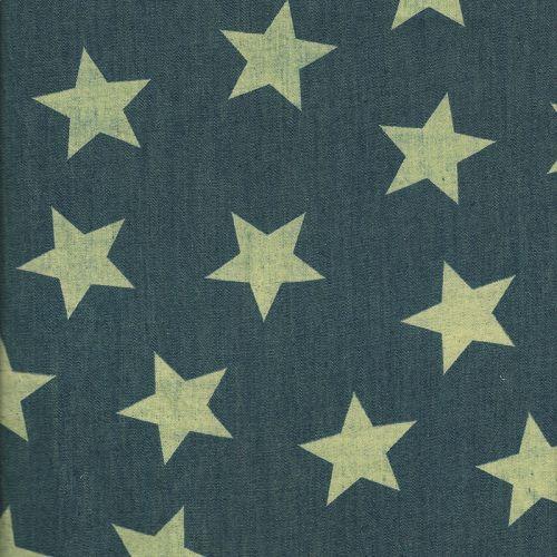 Tissu Chambray étoiles jaunes fd jean/100% cot