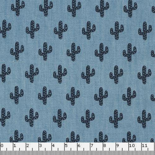 Tissu Chambray cactus/100% cot