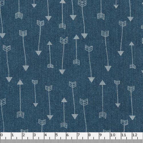Tissu chambray bleu motif flèches 100% coton