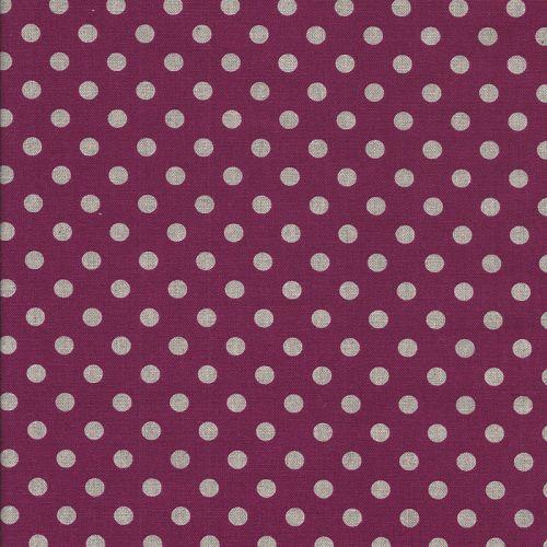 Tissu japonais 75 % cot/25% lin110 pois rose fd fush