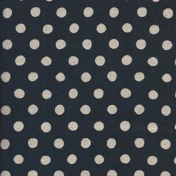 Tissu japonais 80%cot/20% lin pois nat fond bleu