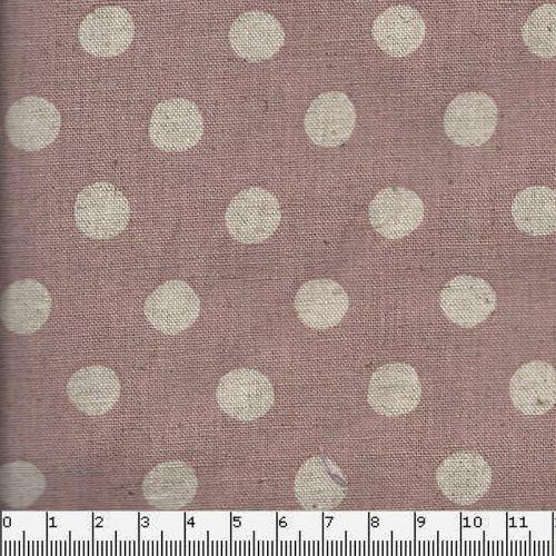 Tissu japonais 80%cot/20% lin pois nat fond rose