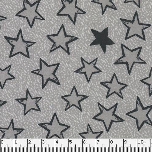Tissu Softshell étoiles grises/fd gris 95%pol/5%el