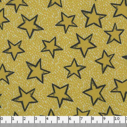 Tissu Softshell étoiles jaunes/fd jaune 95%pol/5%el