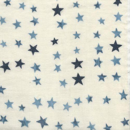Tissu double gaze étoiles fond beige 100 % coton