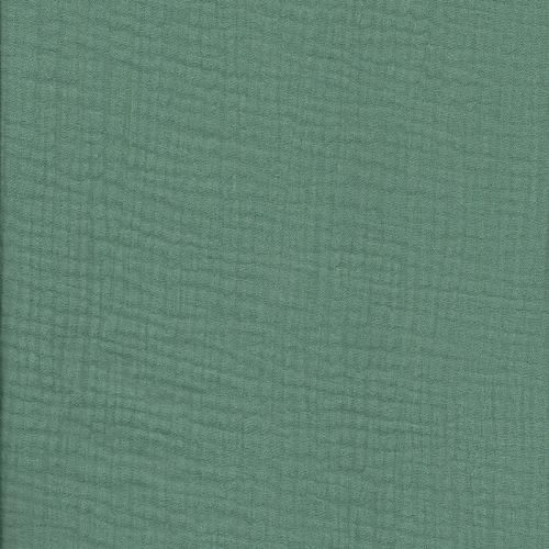 Tissu double gaze froissée vert lichen