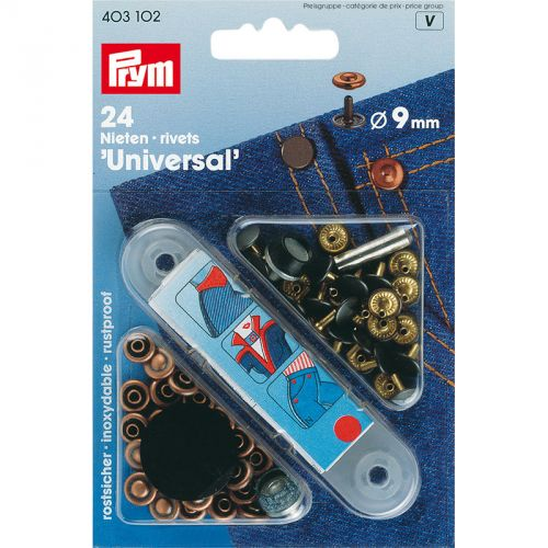 Carte 24 Rivets  9mm laiton utilisables des deux c
