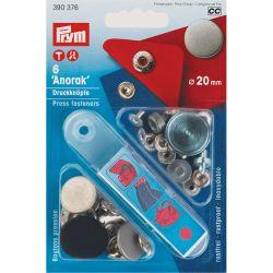 Carte 6 Boutons press. Anorak Design laiton 20 mm