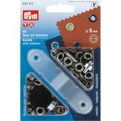 Carte 40 Oeillets + rondelles laiton 5 mm acier an