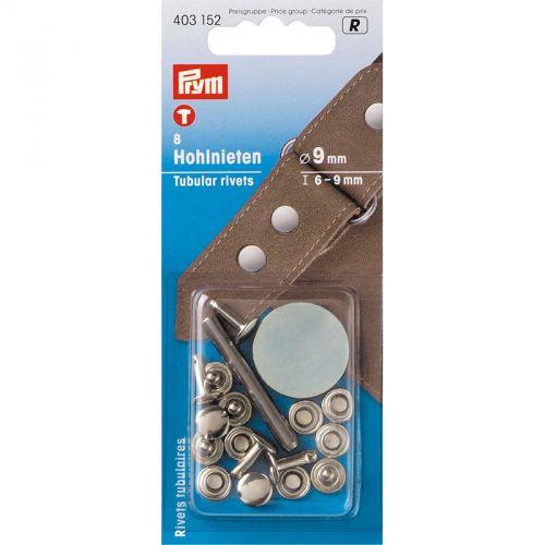 Carte 8 Rivets 6-9mm tubulaires laiton pour épaiss