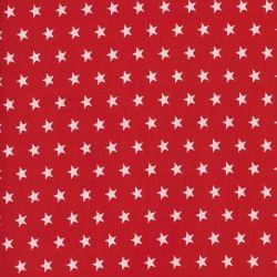 Tissu 100% coton rouge étoiles blanches 1cm