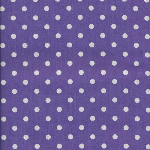 Tissu coton violet à pois blanc