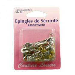 Epingles de sécurité nickel. et laiton assort. X48