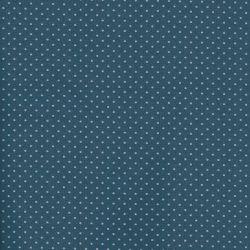 Tissu coton bleu à pois gris