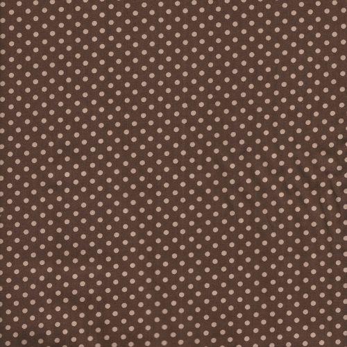 Tissu coton  marron à pois moka