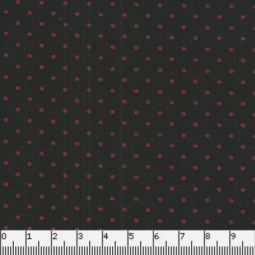 Tissu coton noir à pois bordeaux