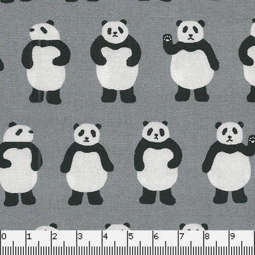 Tissu japonais 100 % coton pandas fond gris