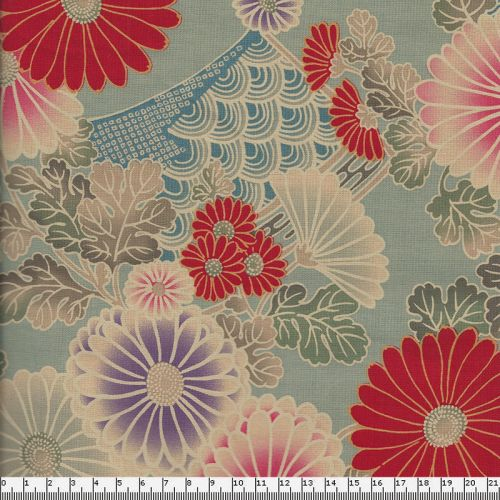 Tissu japonais 100 % coton motif tradi floral fond bleu gris