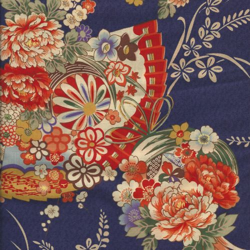 Tissu Kokka motifs florals traditionnels 100 % cot