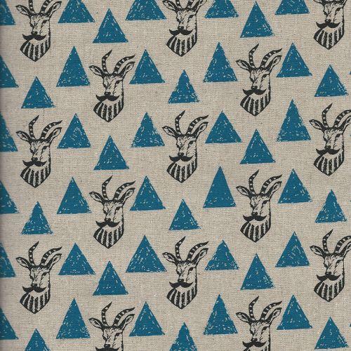 Tissu 45% cot 55% lin Echino Impala - bleu