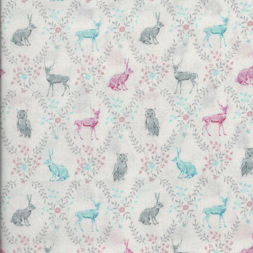 Tissu japonais 100 % coton animaux forêt