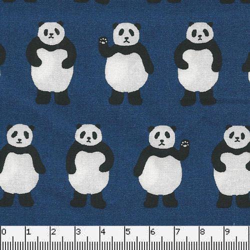 Tissu japonais 100 % coton pandas fond bleu
