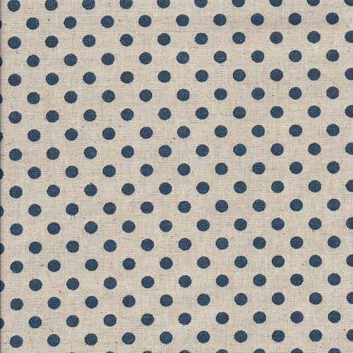 Tissu japonais 75 %cot/25% lin pois bleu fond nat