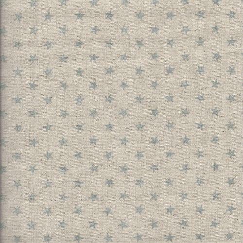 Tissu japonais 75% cot/25% lin étoiles arg fd nat