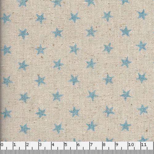 Tissu japonais 75% cot/25% lin étoiles bleu fd na