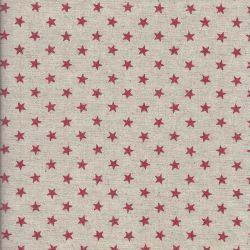 Tissu japonais 75 % cot/25% lin étoiles rouge