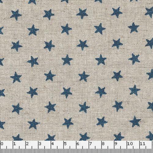 Tissu japonais 75 % cot/25% lin étoiles bleu