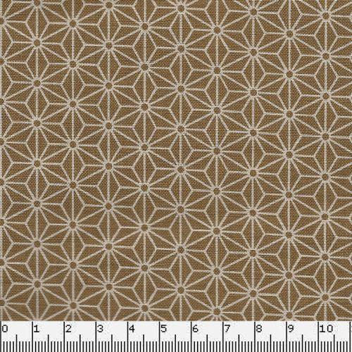 Tissu japonais 100 % coton fleurs de lin mordoré