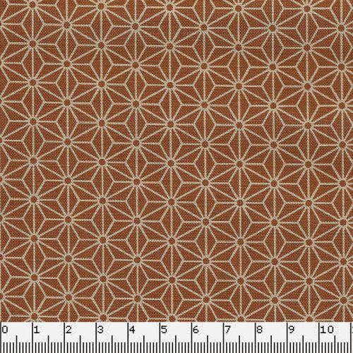 Tissu japonais 100 % coton fleurs de lin moutard