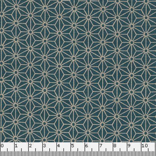 Tissu japonais 100 % coton fleurs de lin bleu