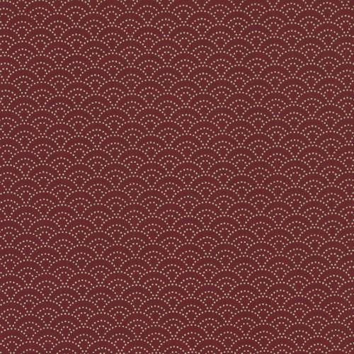 Tissu japonais 100 % coton petites vagues rouge