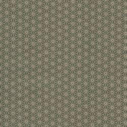 Tissu japonais 100 % coton fleurs de lin gris/ve