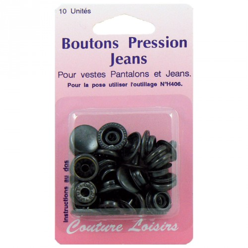 Boutons pression 15 mm jeans couleur noir X10