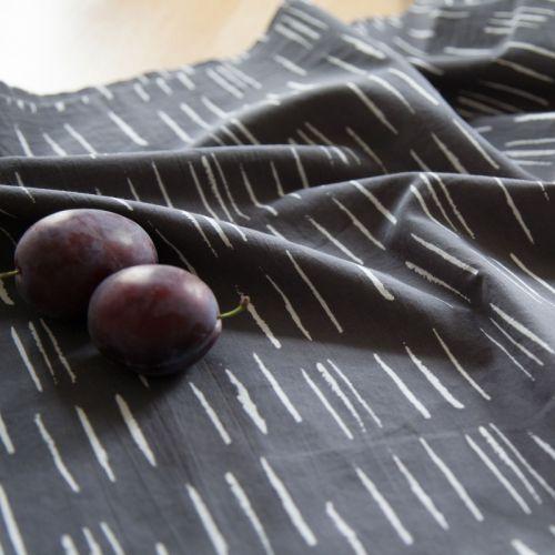 Tissu Chalk Charcoal - Atelier Brunette 100 % coton batiste