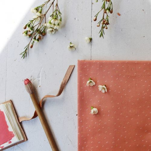 Tissu Sparkle Melba Gold- Atelier Brunette 100 % cot batiste