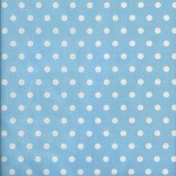 Tissu coton bleu clair à pois