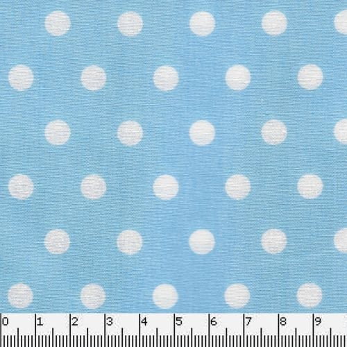Tissu coton bleu clair à poisTissu coton à pois blanc sur fond bleu clair pour un look indémodable